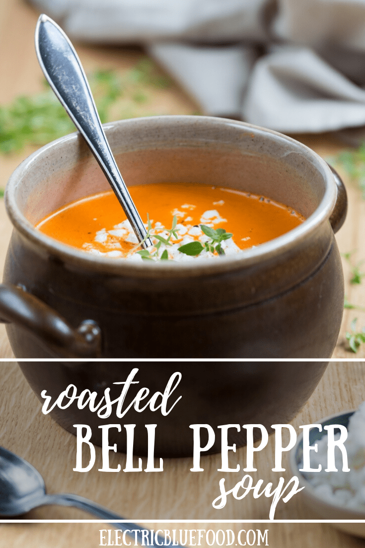 Roasted bell pepper soup with crumbled goat cheese.