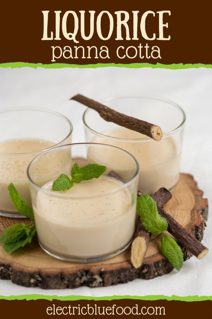 Liquorice panna cotta recipe with natural liquorice extract. Single-serving portions of panna cotta in individual serving glasses.