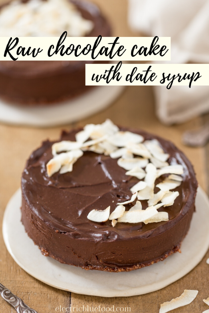 Vegan raw chocolate cake made with avocado and date syrup. Gluten and refined sugar free.