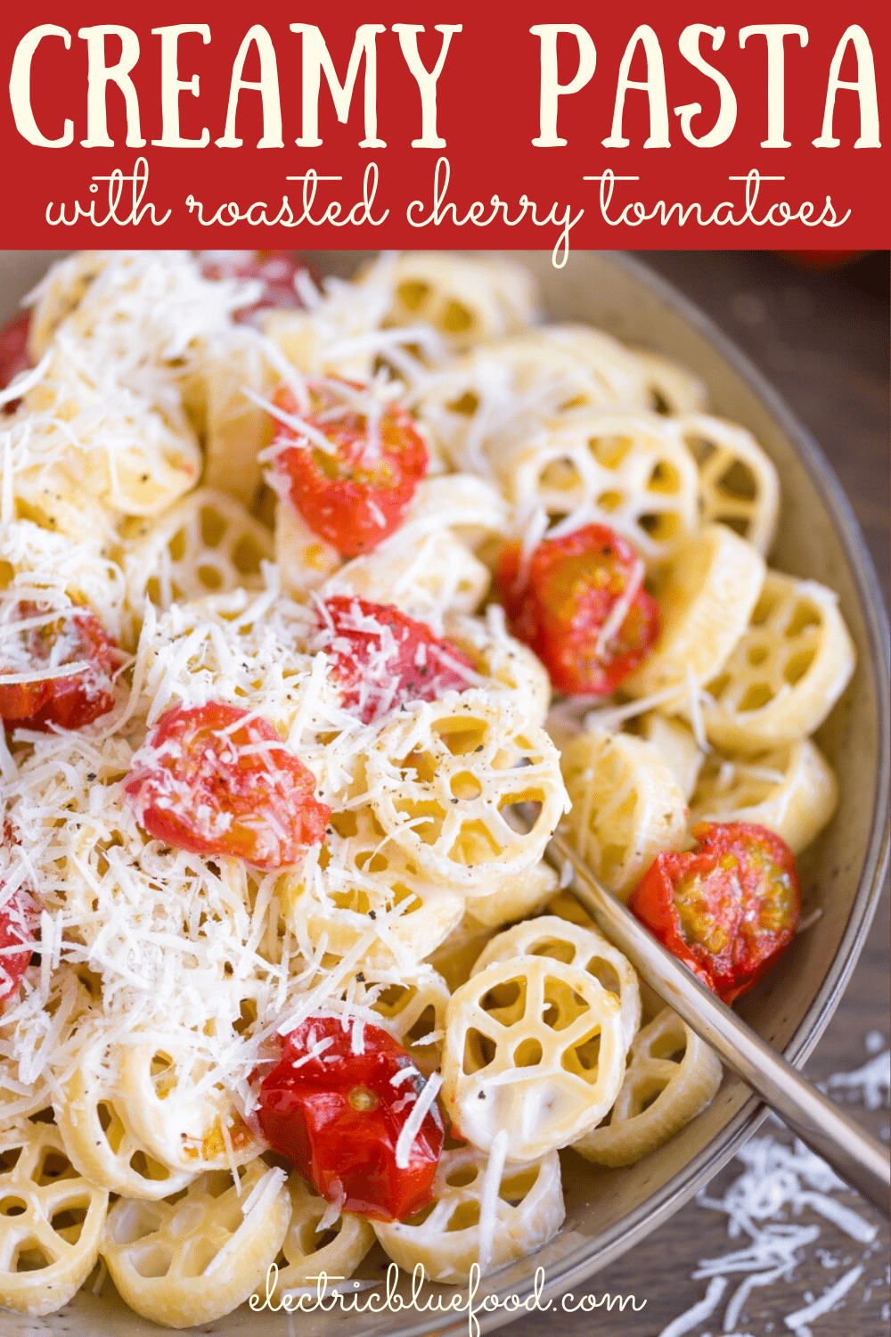 A creamy pasta dish with oven-roasted cherry tomatoes and a sprinkle of freshly grated pecorino.