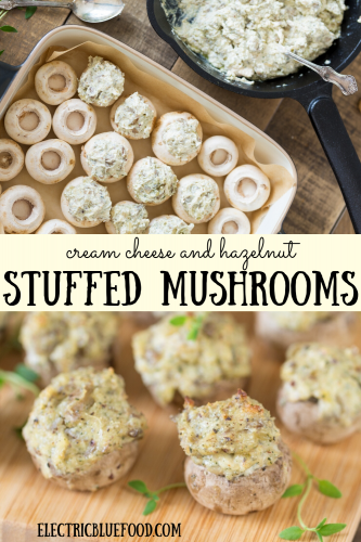 Small cultivated mushrooms filled with cream cheese and ground hazelnuts. A finger food appetizer full of flavour.