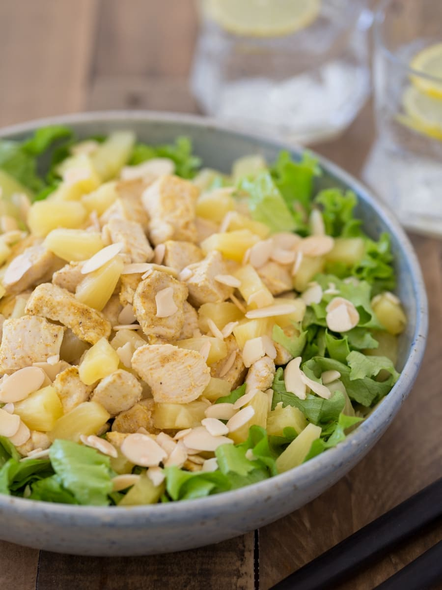 Chicken pineapple salad without dressing.