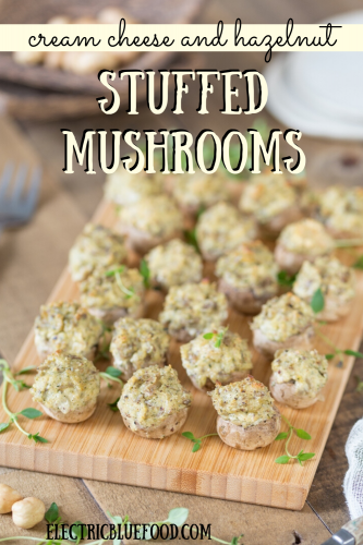 Baked stuffed mushrooms with cream cheese and hazelnuts, a lovely vegetarian appetizer.