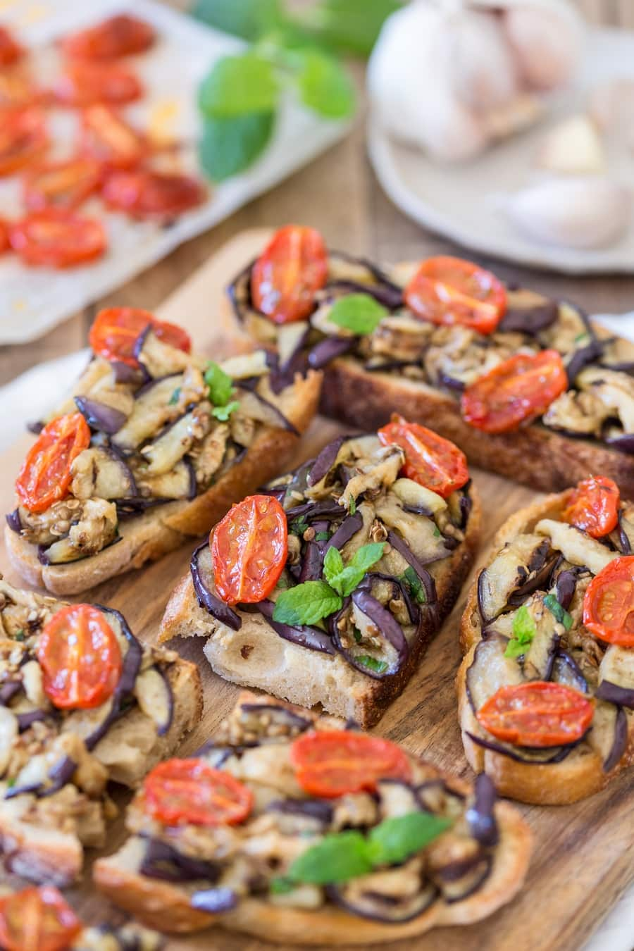 Grilled eggplant and roasted cherry tomato bruschetta.