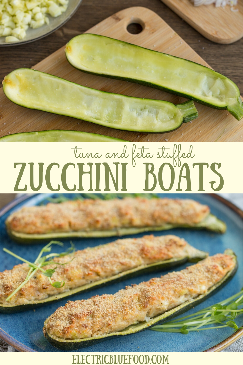 Stuff your zucchini with tuna and feta and bake them in the oven. Your tuna zucchini boats will be a success!