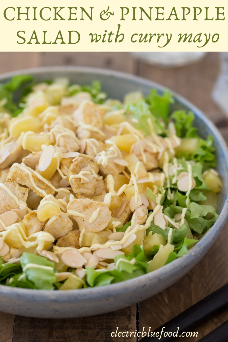 Chicken pineapple salad with curry mayo and roasted almonds. A delightful salad recipe to enjoy during the summer months.