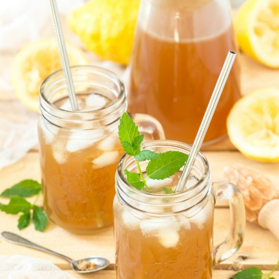 Brown lemonade made with light muscovado sugar and fresh lemon juice.