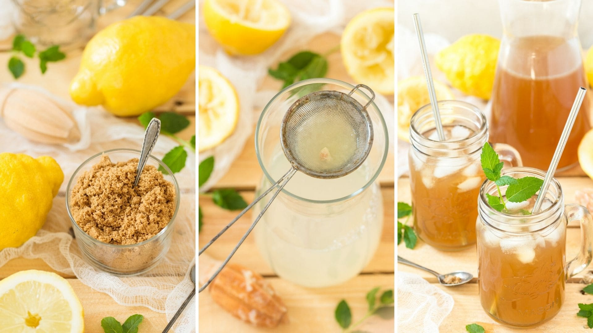 Brown lemonade recipe steps.