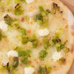 Mascarpone on pizza: pizza bianca with leek and mascarpone topping.