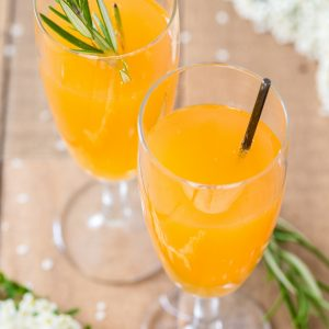 Alternative Bellini cocktail made with mango nectar and apple cider.