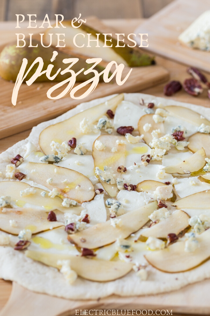Ripe pear slices and delicious blue cheese top this pear and blue cheese pizza bianca. Topped with pecans and with unmissable mozzarella, this gourmet pizza goes well as both main and dessert!