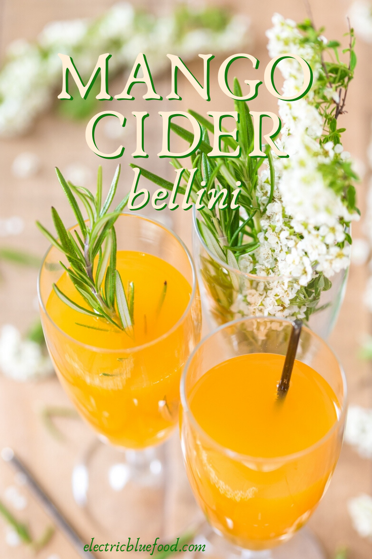Mango cider Bellini: an alternative bellini cocktail recipe where peach is subbed with mango and dry apple cider takes over the prosecco.