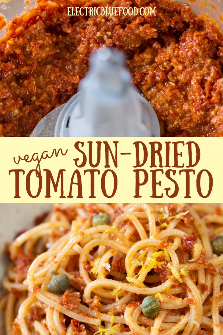 Vegan sun-dried tomato pesto with capers and lemon zest. You don't need more than 10 minutes and 5 ingredients to make this fantastic vegan pesto that doubles as spread or pasta sauce.