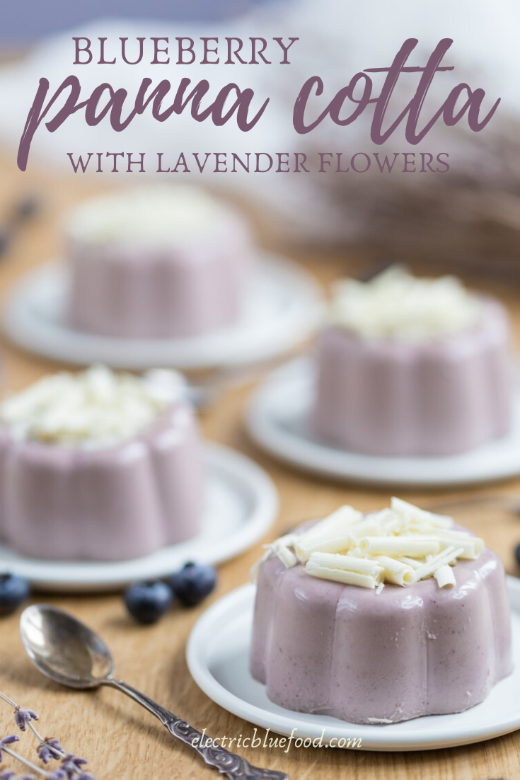 Blueberry lavender panna cotta: a delicious flavour combination for an easy no-bake dessert. All natural flavours and colours.