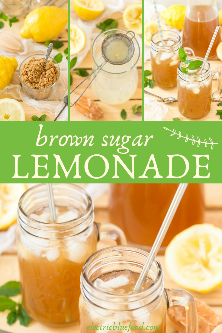 Brown lemonade made with fresh lemons and light muscovado sugar. Brown sugar lemonade has a lovely molasses hint thanks to the muscovado, which also lends the lovely dark colour.