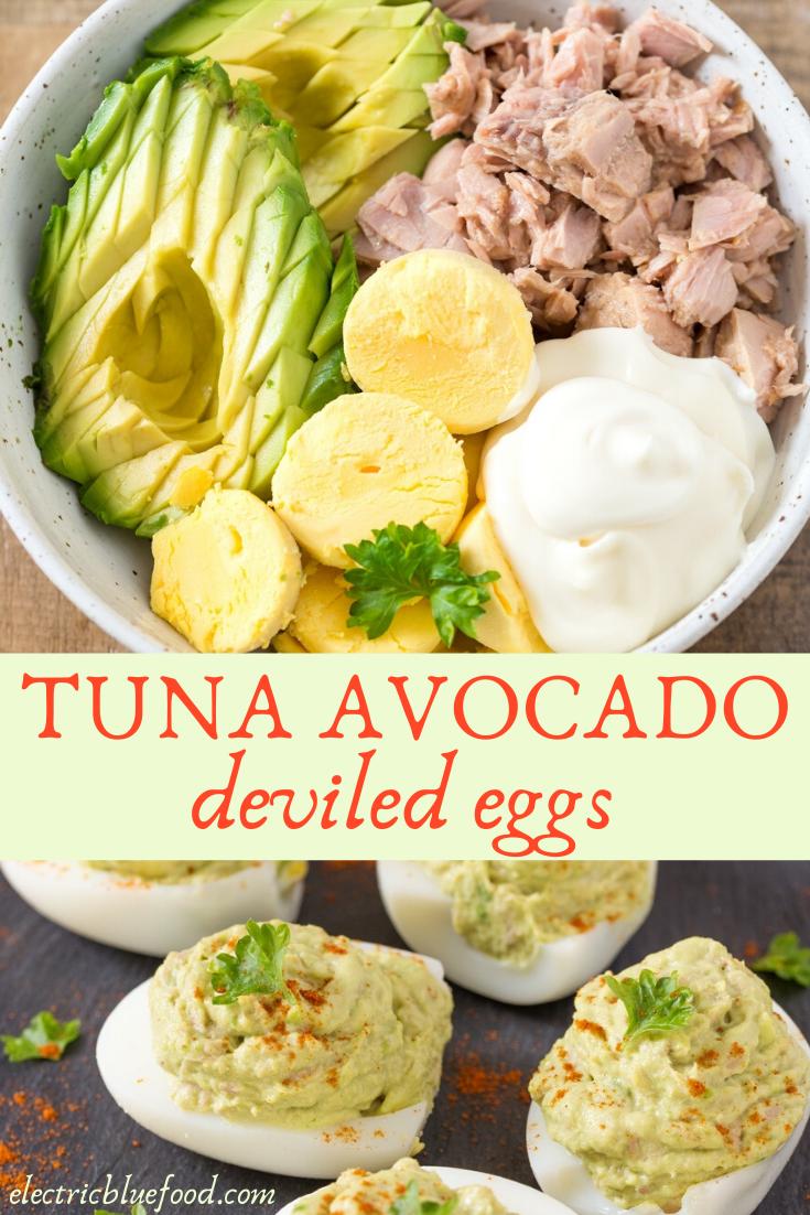 Tuna avocado deviled eggs. Fill your hard-boiled eggs with a delicious tuna avocado salad!