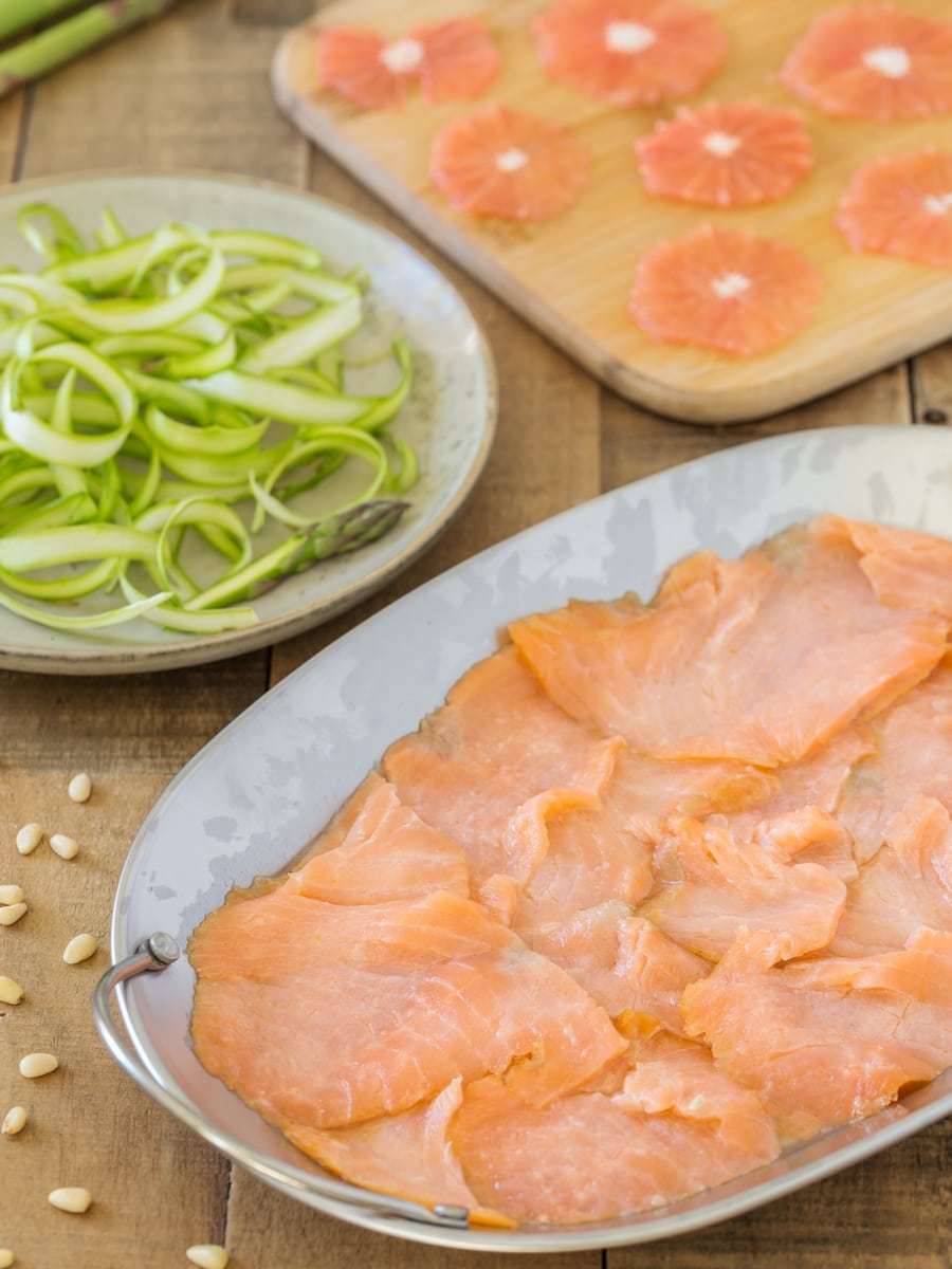 Lemon marinated salmon, shaved asparagus and thinly sliced grapefruit.