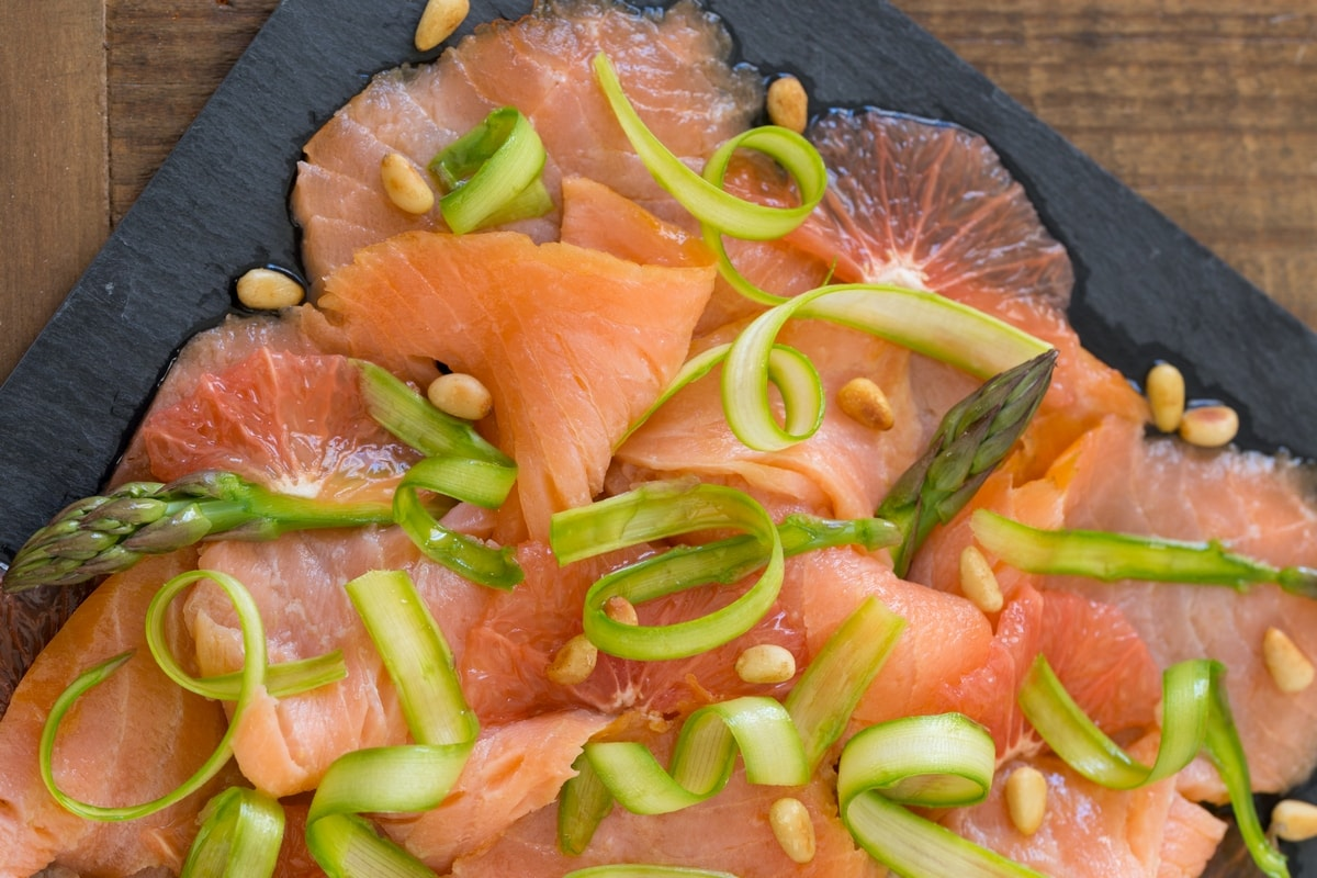 Smoked salmon carpaccio, grapefruit, shaved asparagus.