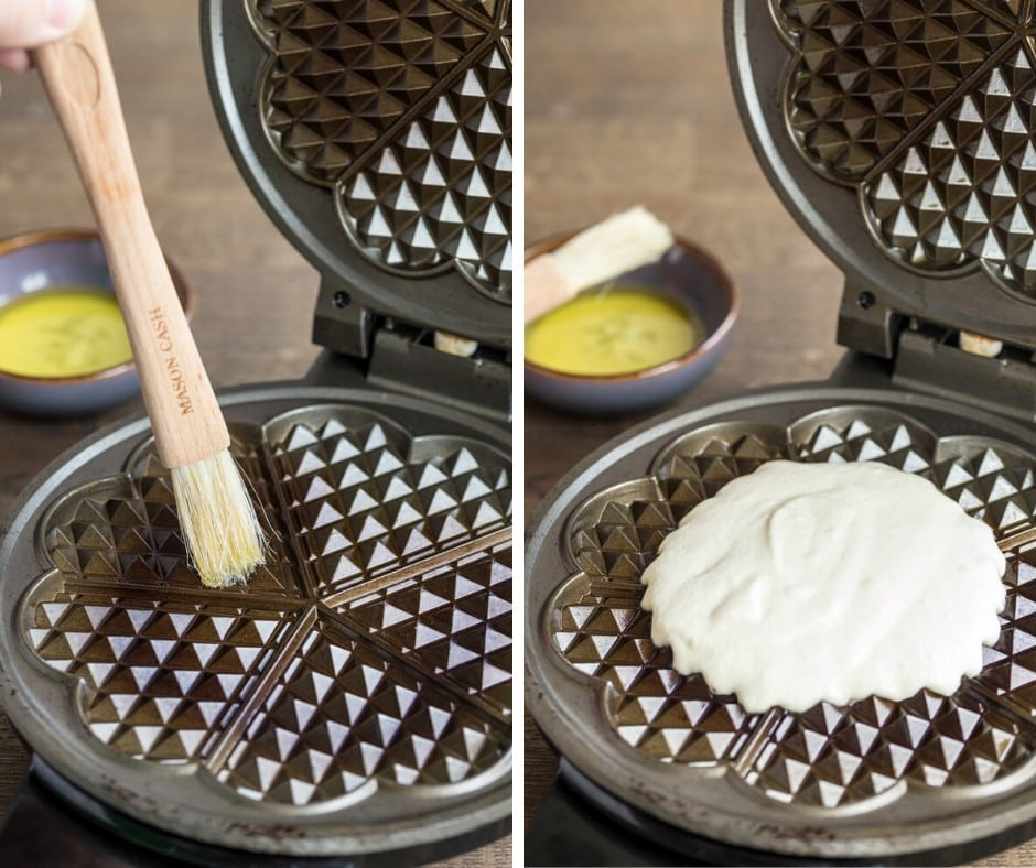 Sour cream waffle preparation: brushing melted butter on waffle iron and pouring waffle batter on it.