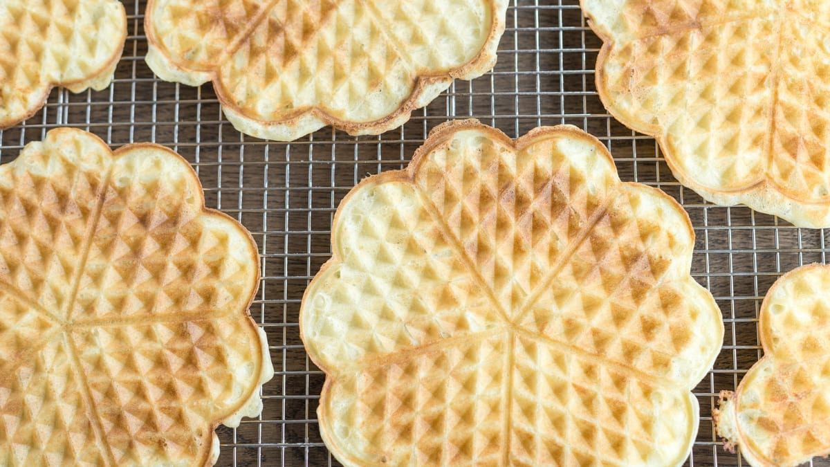 Flatlay image of Norwegian waffles.