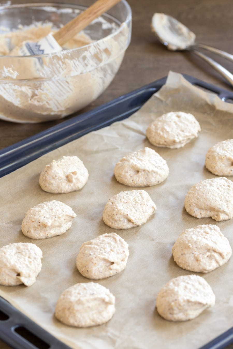 Honey hazelnut meringue, unbaked on sheet pan.