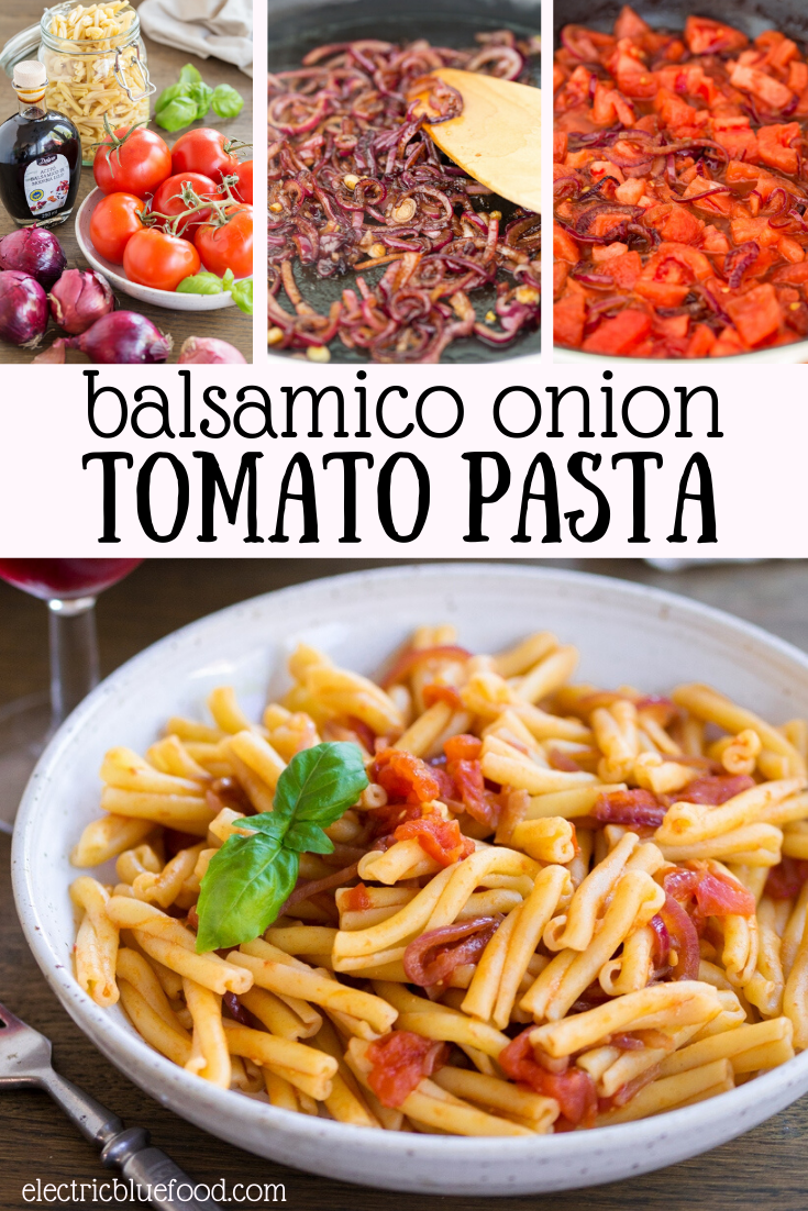 A delicious pasta sauce made with fresh tomatoes and balsamico onions. Red onions are flavoured with balsamic vinegar before adding fresh tomatoes for a fantastic summer pasta sauce.