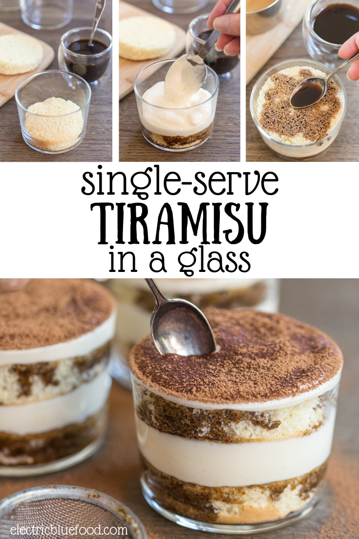 Single-serve tiramisu in a glass. Serve tiramisu in glasses to hand out to guests individually. Made with original mascarpone cream and sponge cake, a lovely way to serve tiramisu.