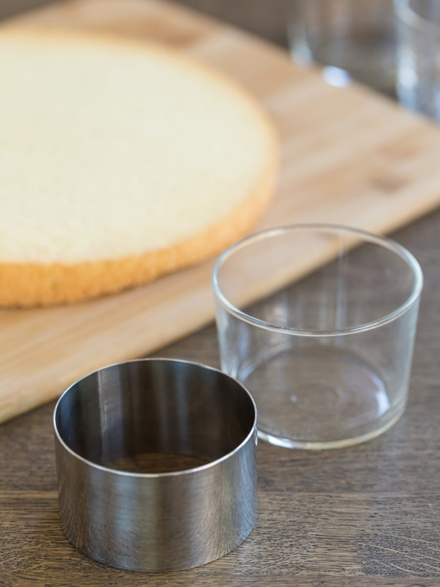 Pastry ring next to serving glass the same size.