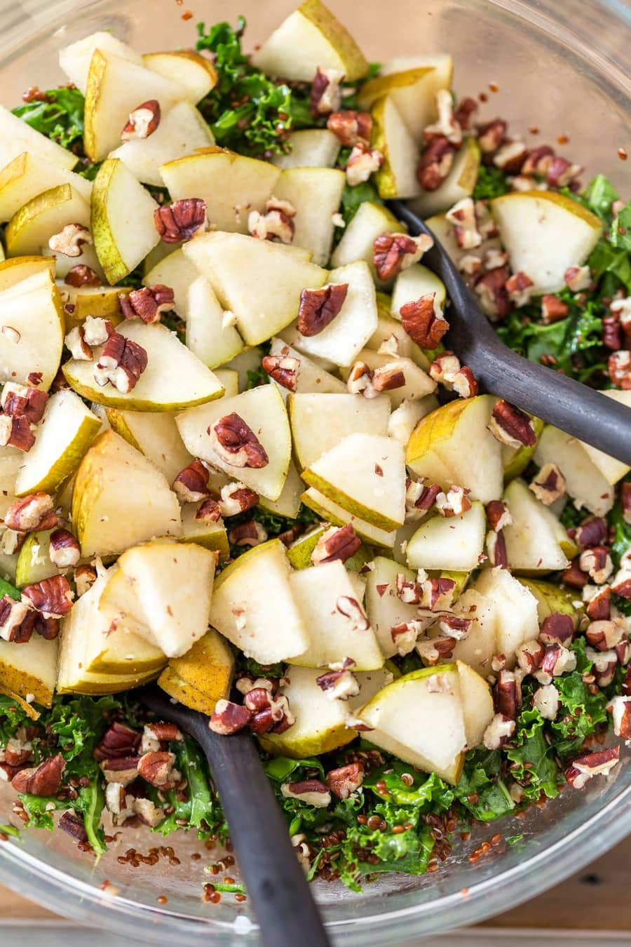 Pear and pecans added to kale salad.