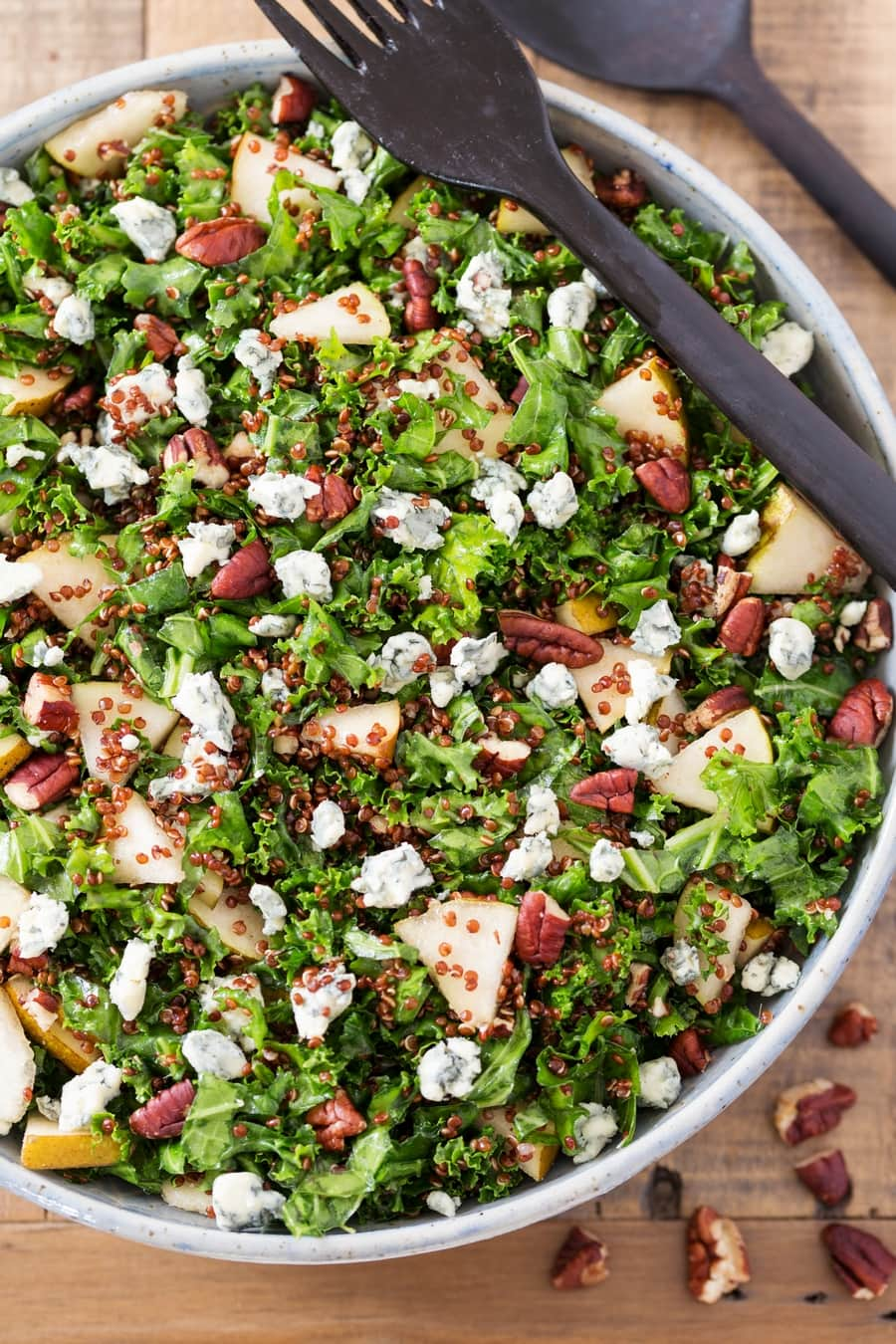Pear, pecans and blue cheese kale salad with quinoa.