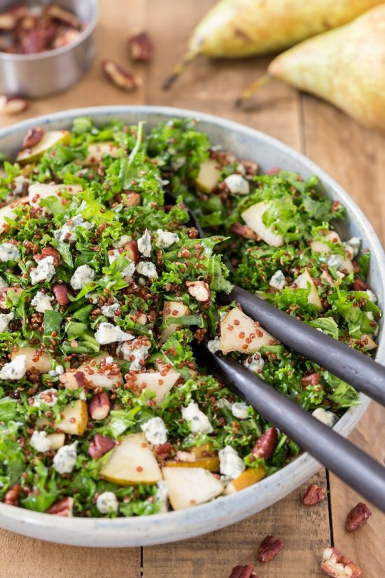 Pear blue cheese kale quinoa salad.