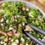 Kale salad with pear and blue cheese.
