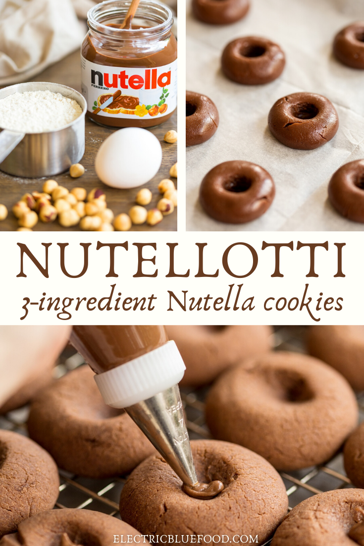 Nutellotti cookies: easy 3-ingredient nutella thumbprint cookies topped with a whole hazelnut.