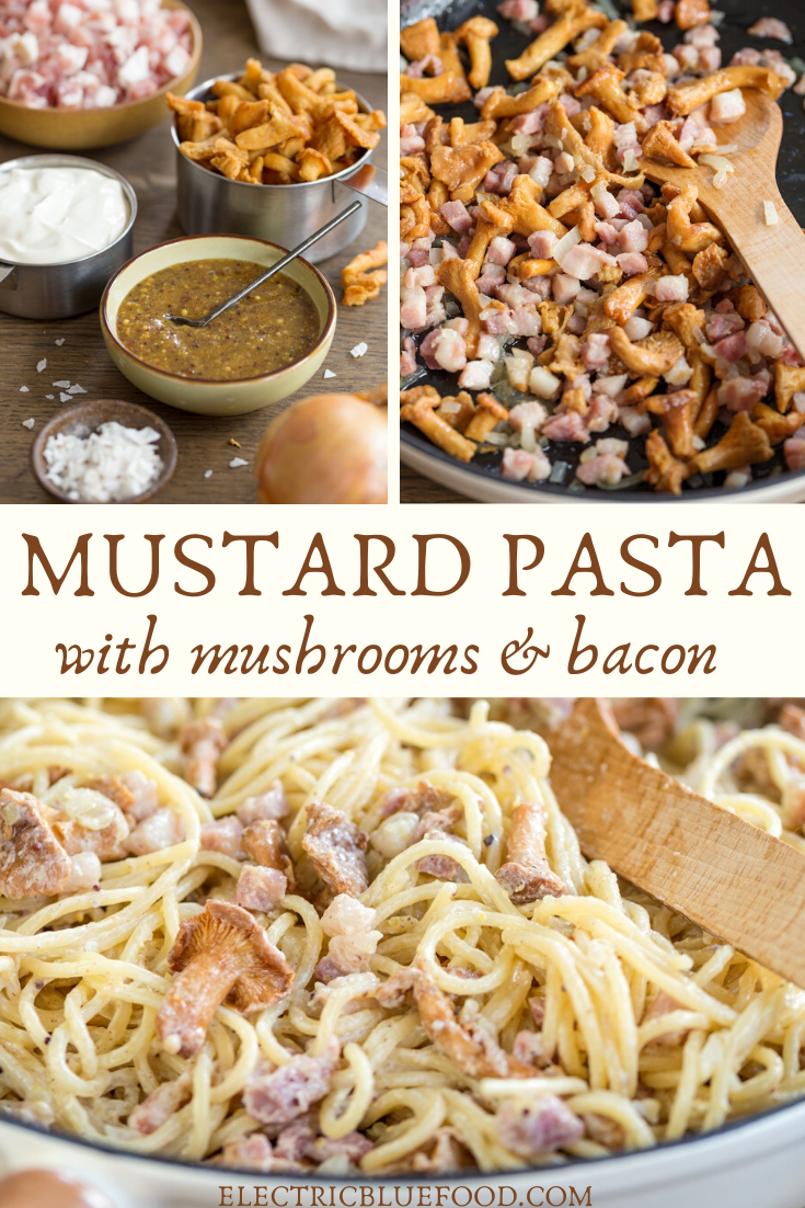 A delicious mustard pasta with mushrooms and bacon is the perfect early fall recipe. Serve your favourite pasta with this creamy hney mustard pasta sauce with smoked bacon and chanterelles.