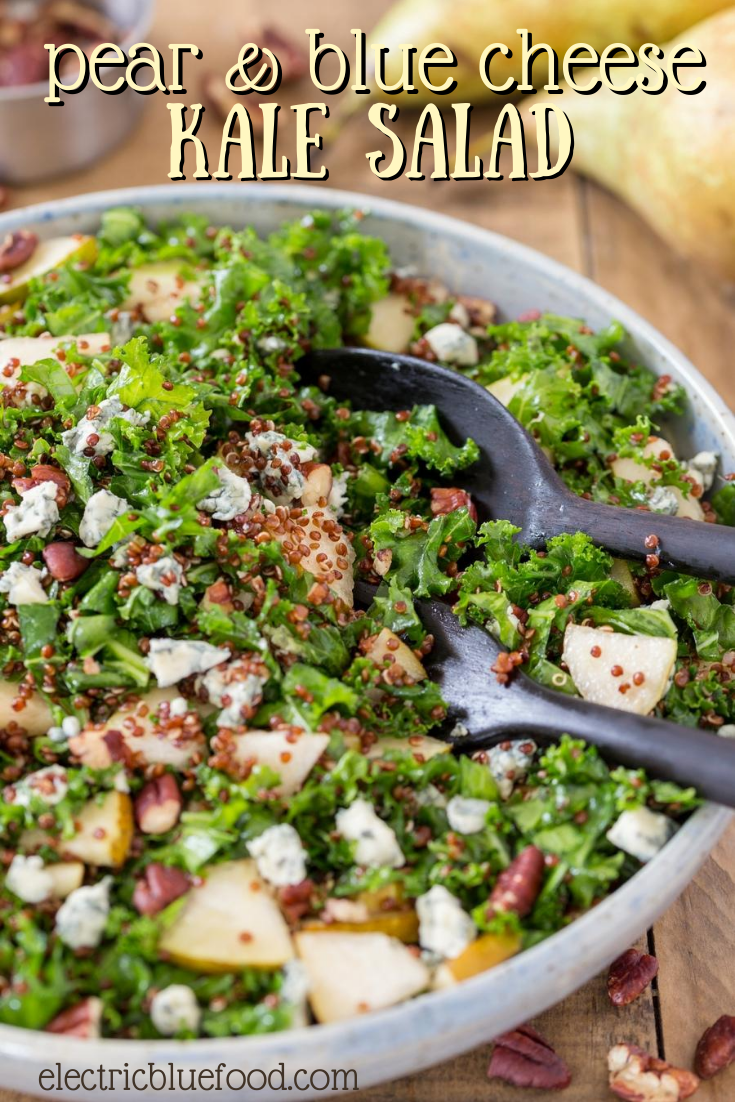 Pear and blue cheese kale salad with quinoa and pecans. A delicious and nutritious salad that combines kale and quinoa, topped with the impeccable combination of pear, blue cheese and pecans. Love at every bite!