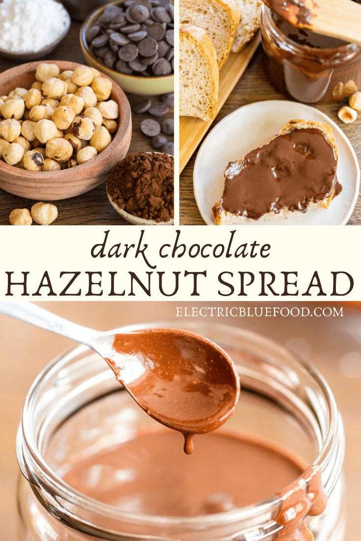 Homemade dark chocolate nutella is a hazelnut spread made with dark chocolate chips and whole hazelnut in your home food processor. Indulge in this delicious treat made entirely from scratch, with less sugar than the commercial product.