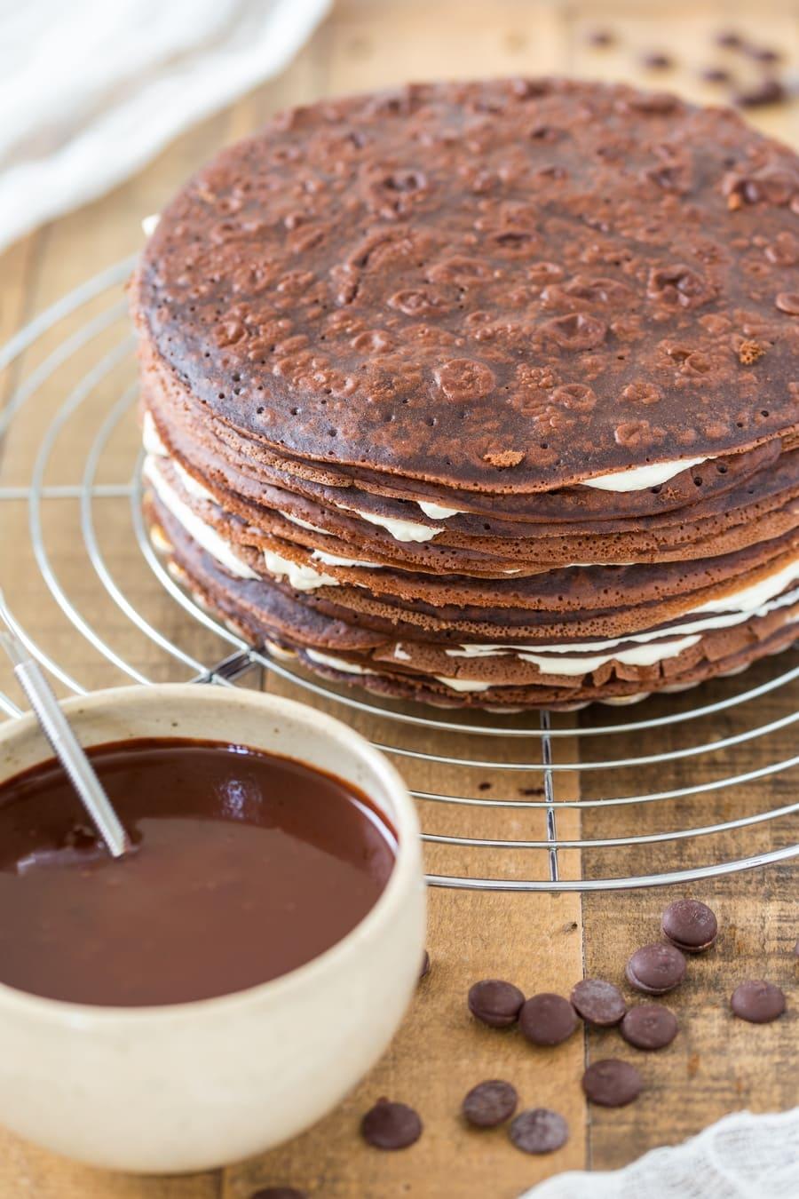 Naked Black Forest crepe cake before adding the chocolate ganache.