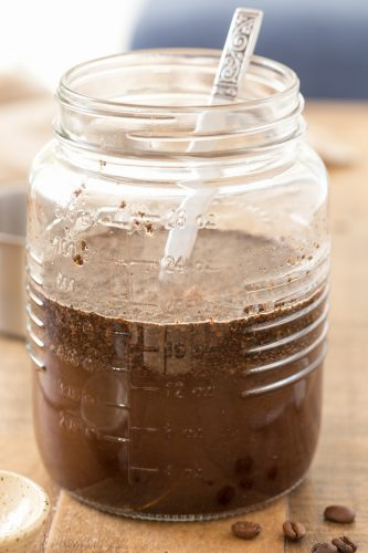 Cold bre coffee made in a jar.