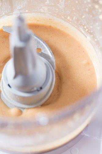 Hazelnut paste in a food processor.