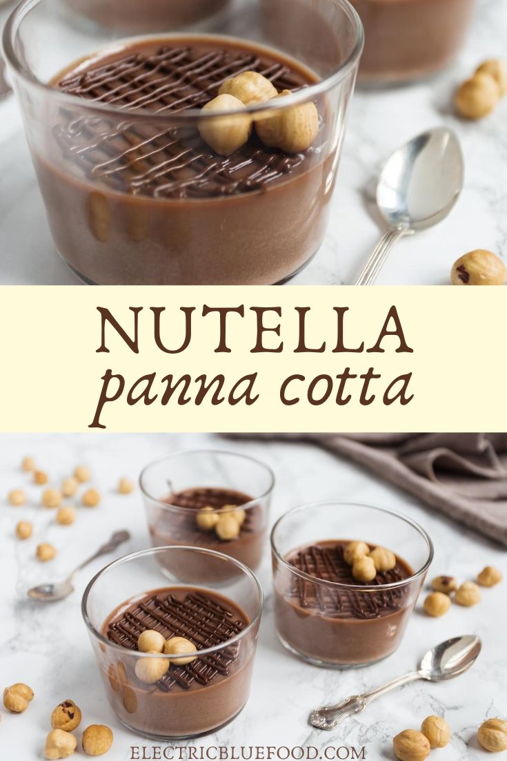 Delicious nutella panna cotta flavoured with hazelnut spread. Easy to make, this will be your new favourite panna cotta flavour.
