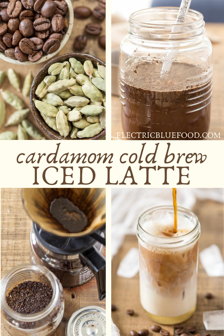 Cardamom cold brew iced latte is the perfect coffee beverage for a hot summer day. Cardamom infused cold brew coffee is served with ice cubes, oat milk and vanilla syrup. Spice up your coffee fix and enjoy a café-style beverage at home!