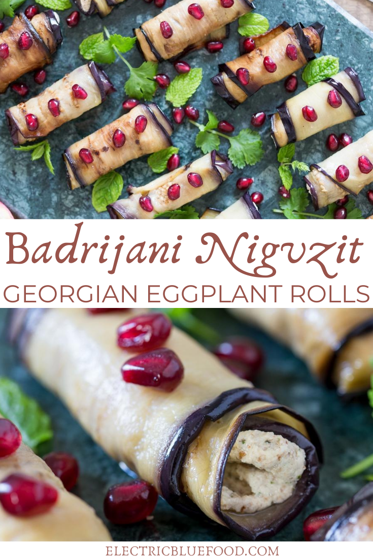 Fried eggplant slices rolled up and filled with a delicious walnut and garlic paste. This is Badrijani Nigvzit, a popular Georgian starter. Learn to make these Georgian eggplant rolls at home and enjoy a taste of Georgia.