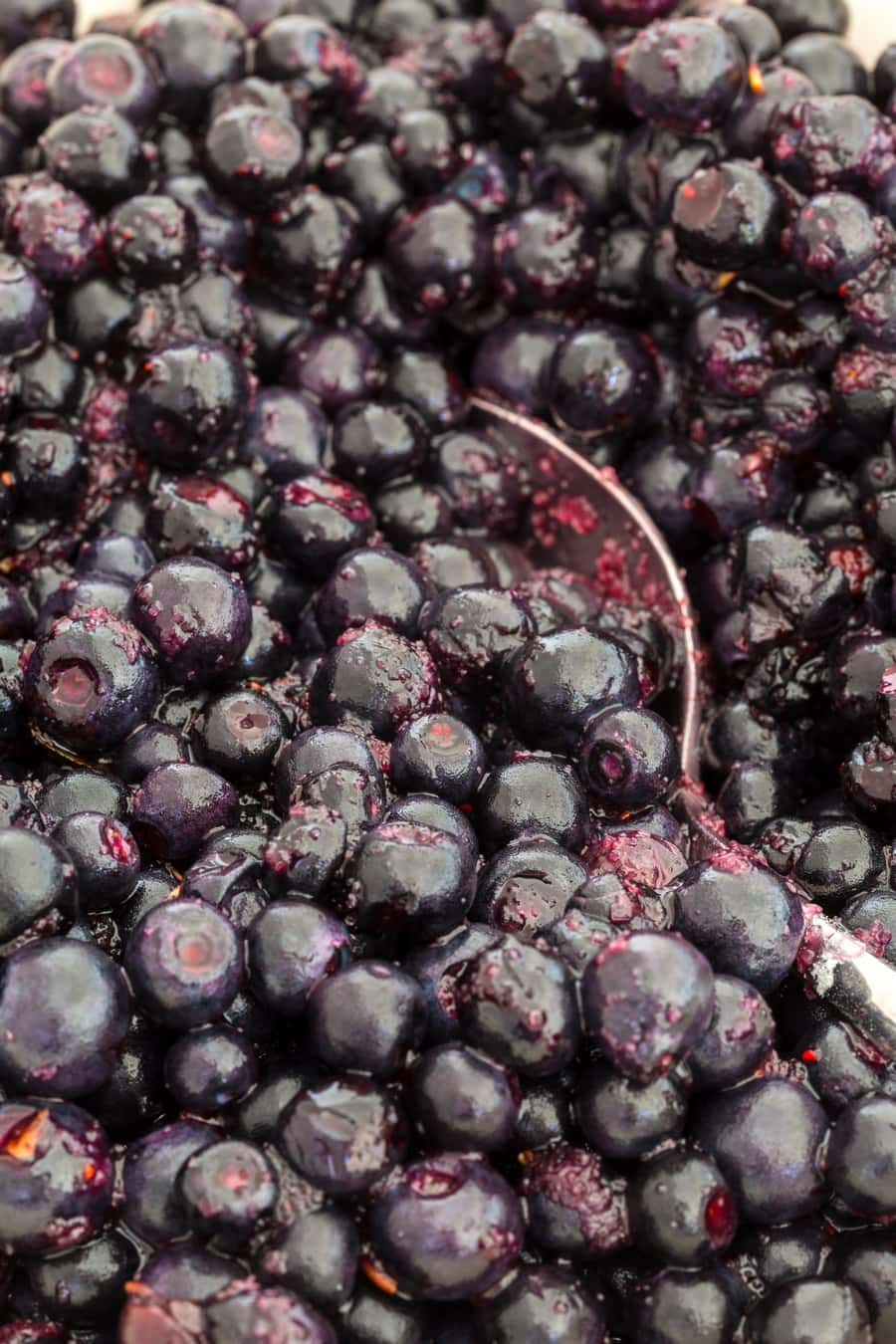 Closeup of blueberries mixed with sugar and potato starch.