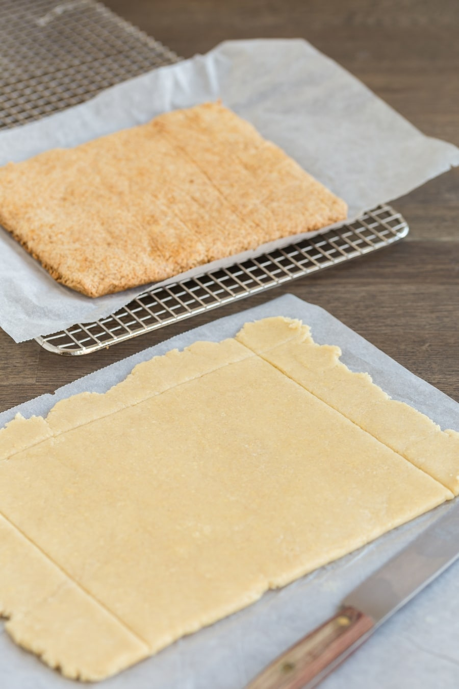 Baked and unbaked layers of honey shortcrust pastry.