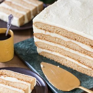 Detail of sliced Polish honey cake with semolina cream.
