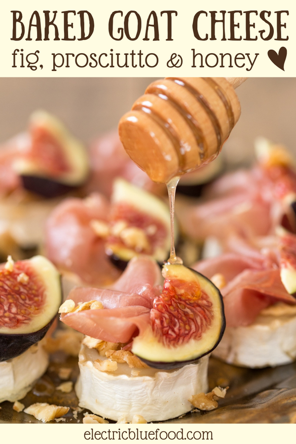 10 minutes in the oven and a small selection of ingredients make this baked goat cheese log with figs and prosciutto a show stopper of an appetizer. A fantastic finger food option along with drinks, or a great starter to a nice dinner, these baked chevre bits will never disappoint and take way less effort than what many people may think. #bakedchevrebits #goatcheeselog #goatcheeseappetizer