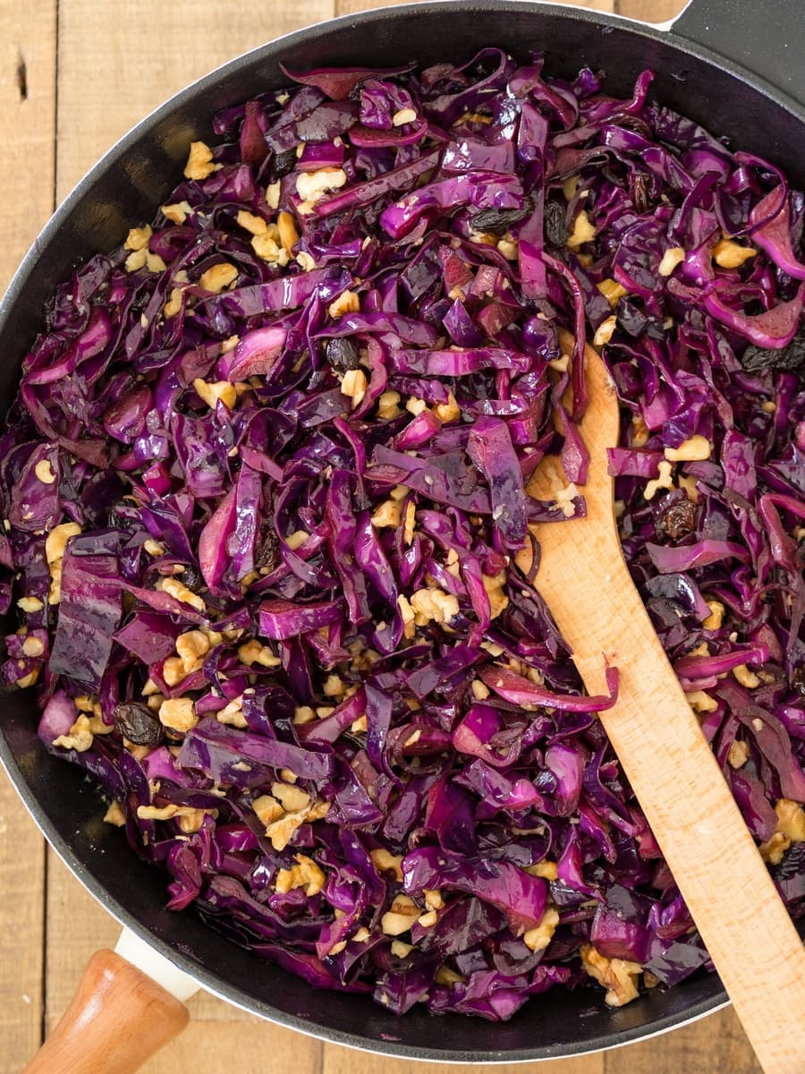 Veggie empanadas filling: sautéed purple cabbage, red onion, raisins and chopped walnuts.