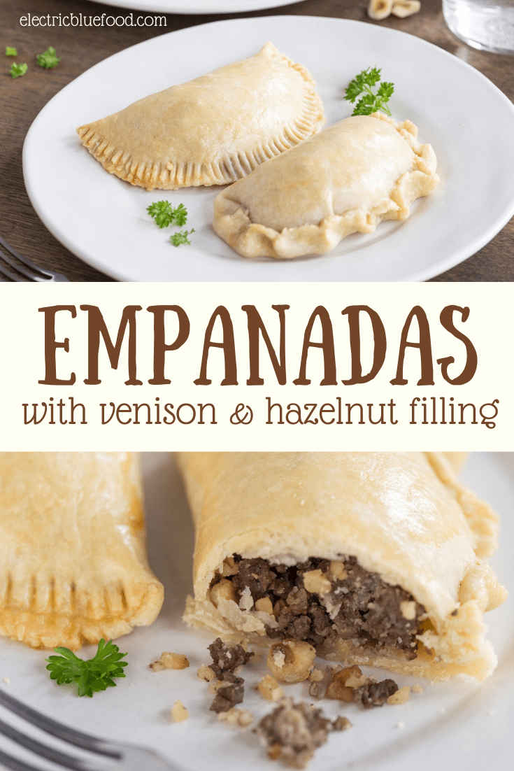 Enjoy meat empanadas with a special filling: these venison empanadas have a delicious game meat mince filling with ground hazelnuts and a dash of cinnamon! Made from scratch with a lovely pastry and oven-baked, these homemade empanadas are the perfect meat appetizer. #empanadas #gamemeat #venison #venisonempanadas