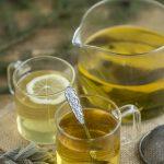 Lemon sage tea served with or without lemon.
