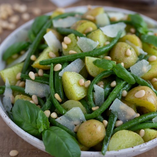 Baby potato salad with green beans and pesto dressing.